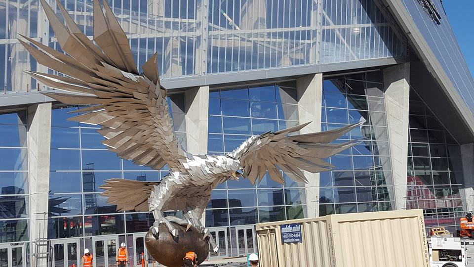 I went by mercedes benz stadium this morning talk about for Mercedes benz stadium falcon statue